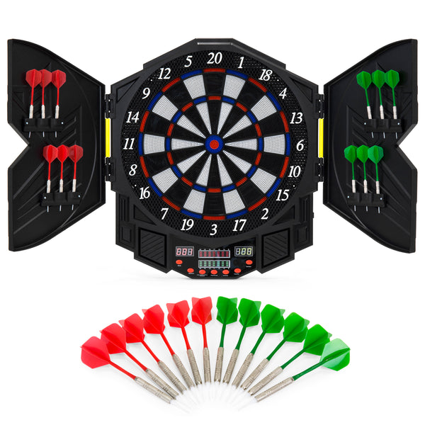 Electronic Dartboard Game Set w/ Cabinet, 12 Darts, LCD Display - Multicolor