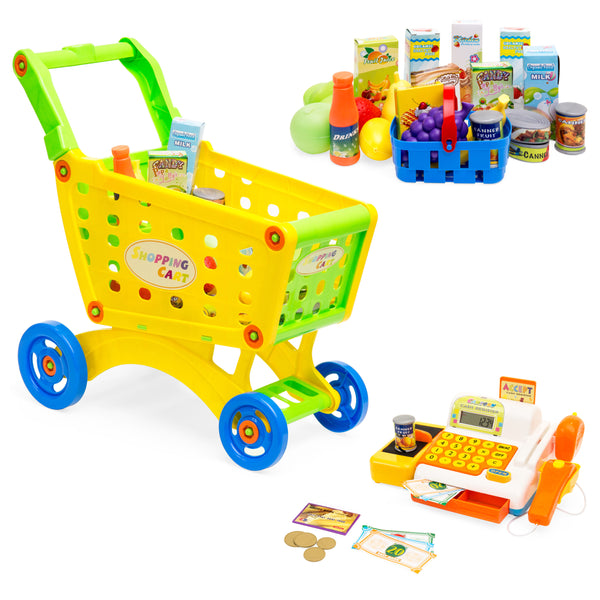 27-Piece Educational Toy Pretend Grocery Shopping Cart w/ Register, Safe Plastic Food, Play Money