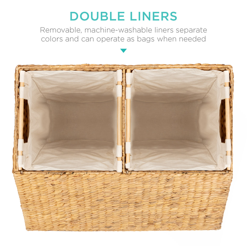 Extra Large Water Hyacinth Double Laundry Hamper Basket w/ 2 Liner Bags