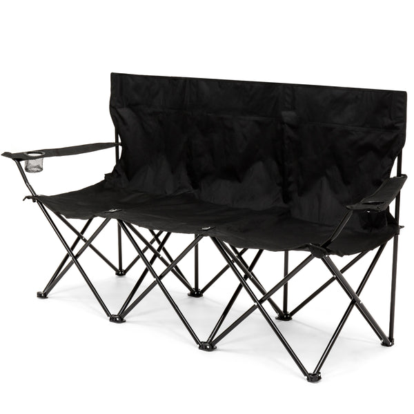 3-Person Portable Camping Chair w/ Built-In Cup Holders, Carrying Bag - Black