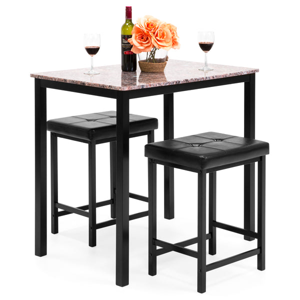 Marble Table Dining Set w/ 2 Stools - Brown