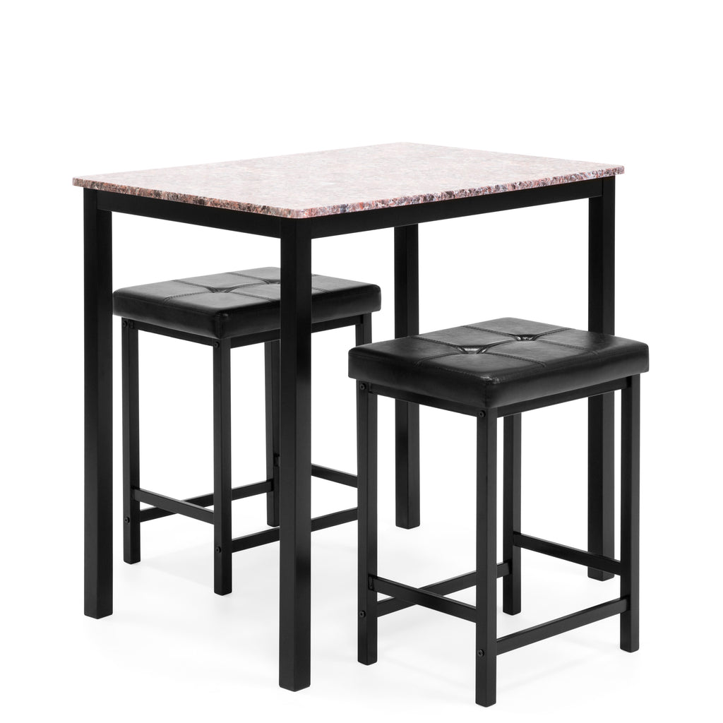 Marble Counter Height Table Dining Set w/ 2 Stools