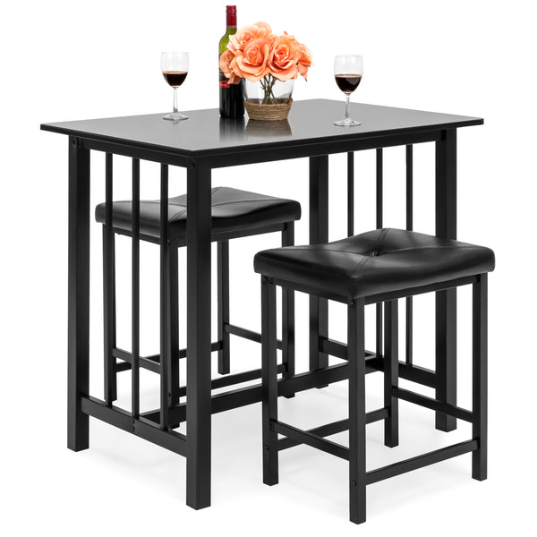 Marble Table Dining Set w/ 2 Stools - Black