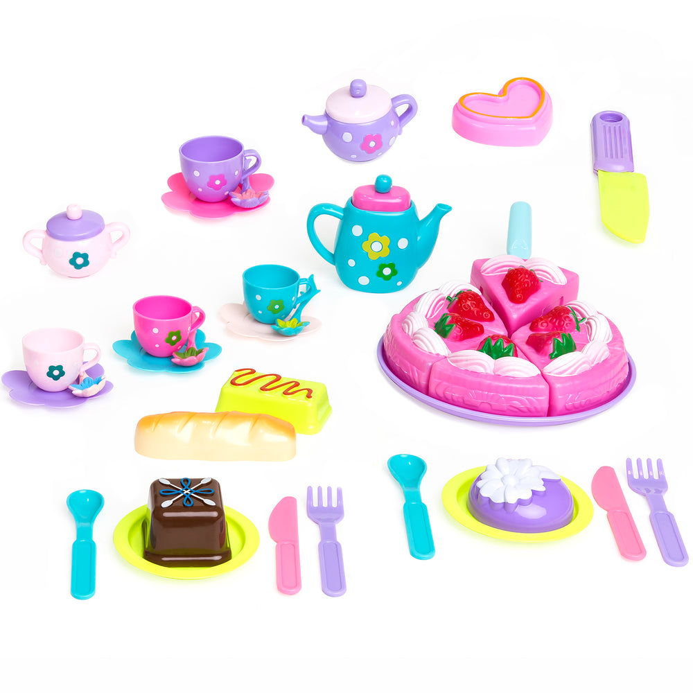 37-Piece Pretend Kitchen Cake Tea Foods Kids Party Playset – Best ...