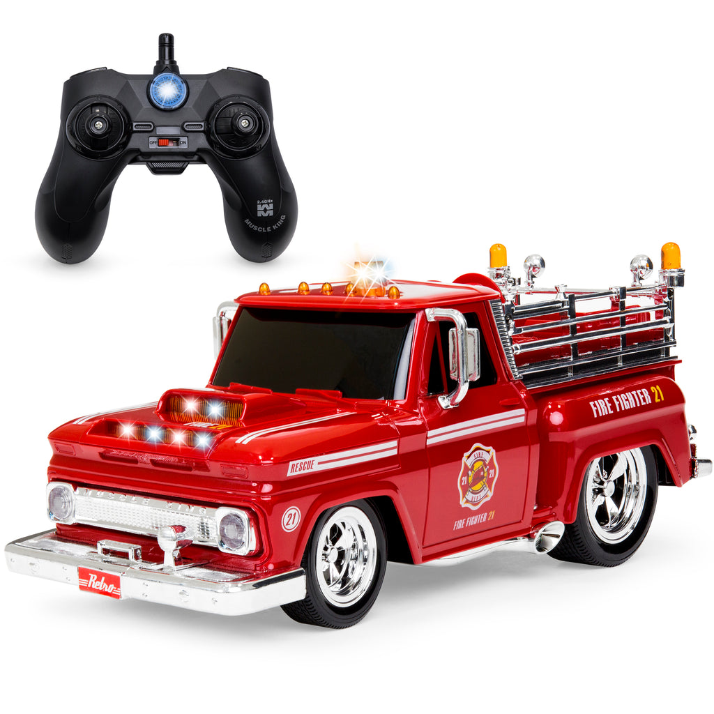 2.4GHz Kids Remote Control Emergency Fire Truck Car Toy w/ Lights, Sounds
