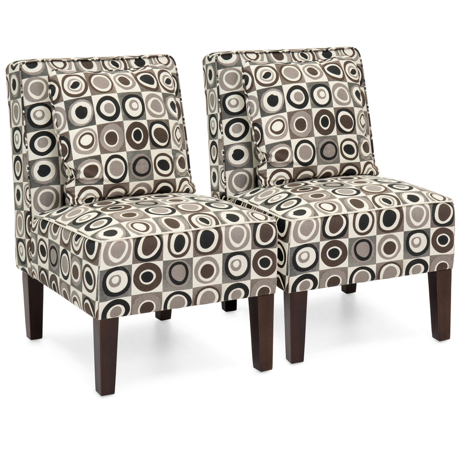 Superbe Set Of 2 Armless Accent Chairs W/ Pillows   Geometric Circle Design