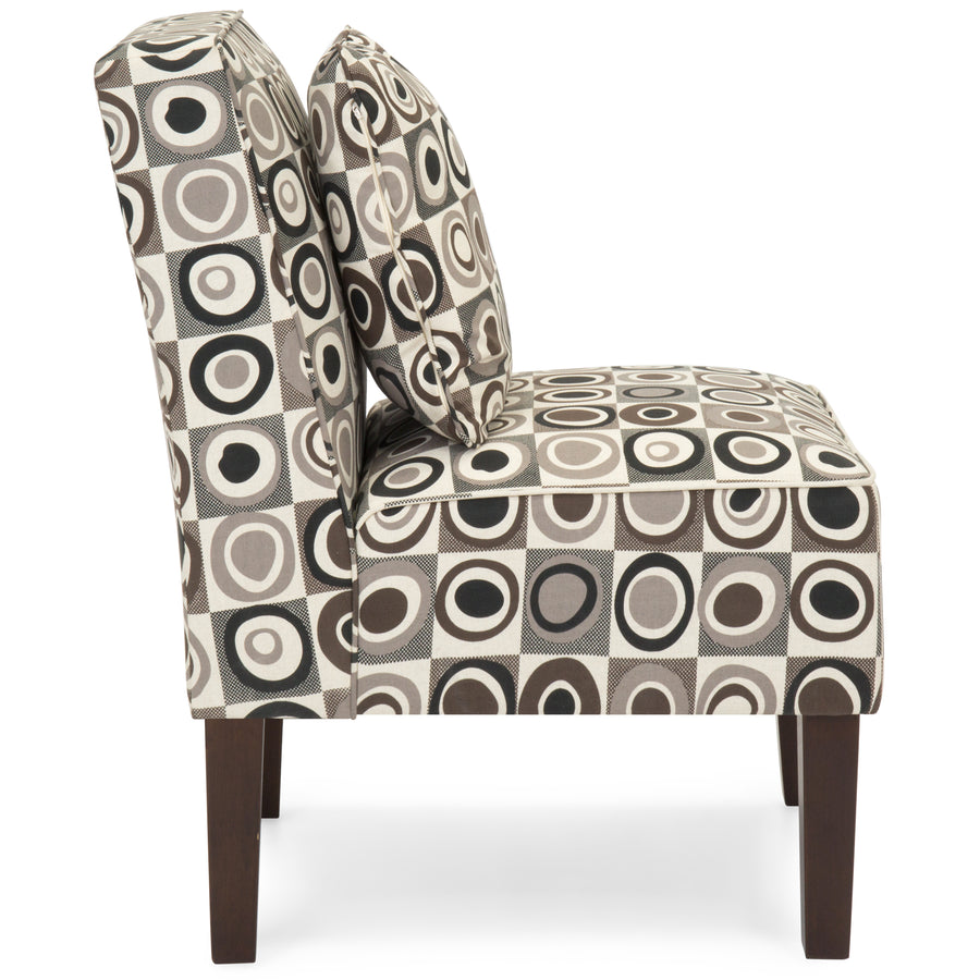 Set Of 2 Armless Accent Chairs W/ Pillows   Geometric Circle Design