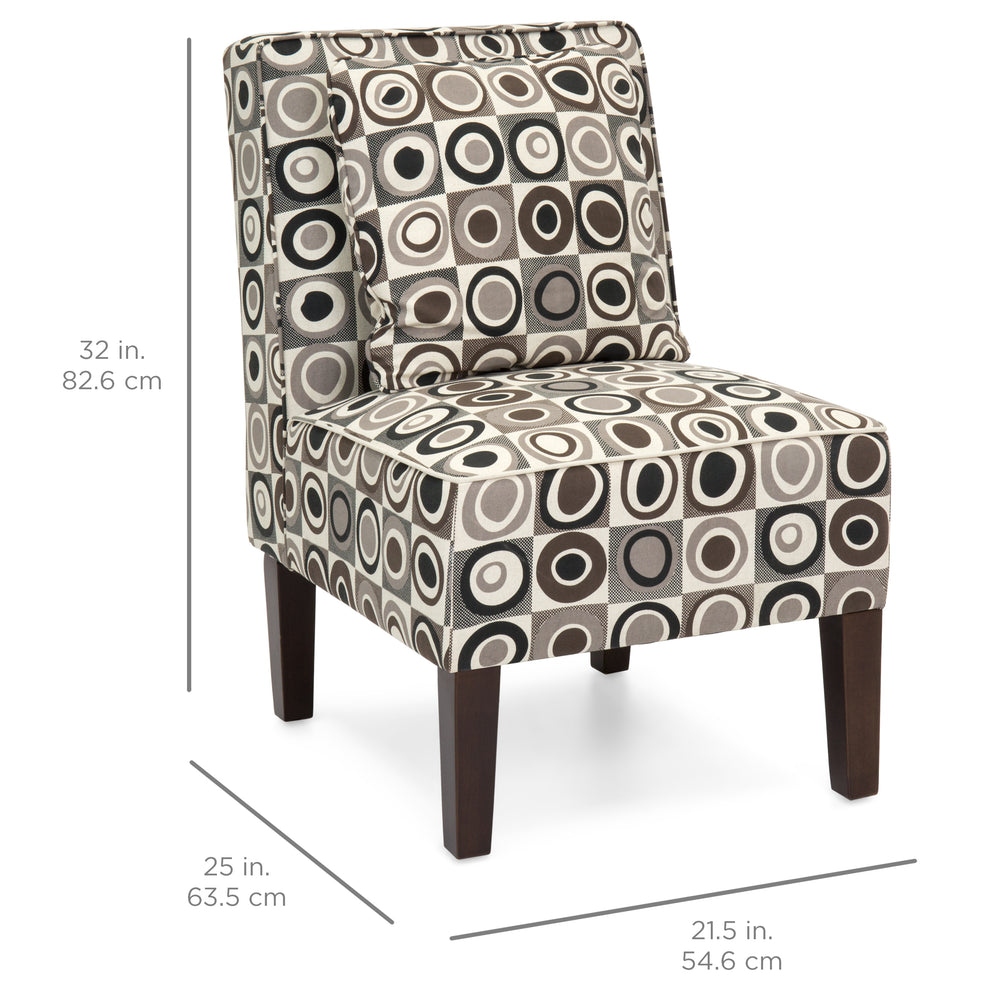 Etonnant Set Of 2 Armless Accent Chairs W/ Pillows   Geometric Circle Design