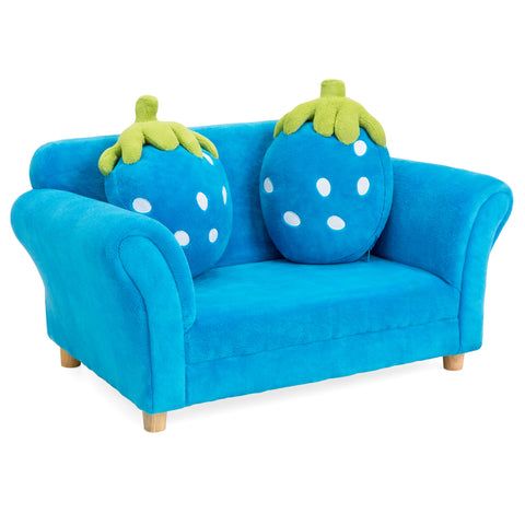 Kids Armrest Sofa Chair Lounge Furniture Set W/ 2 Strawberry Cushion Pillows