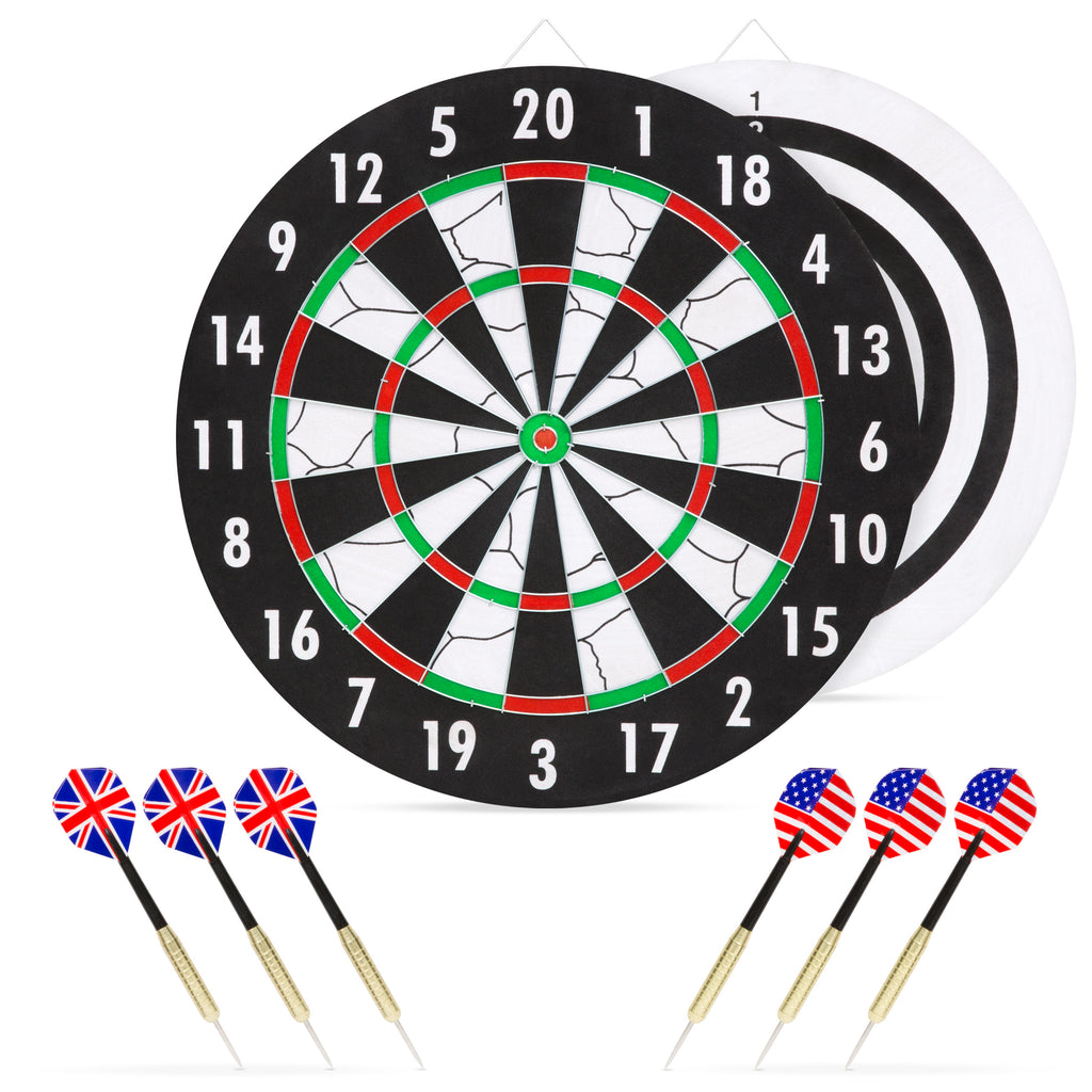 Double-Sided Dart Board Hobby Game Set w/ 6 Brass-Tip Darts - Multicolor