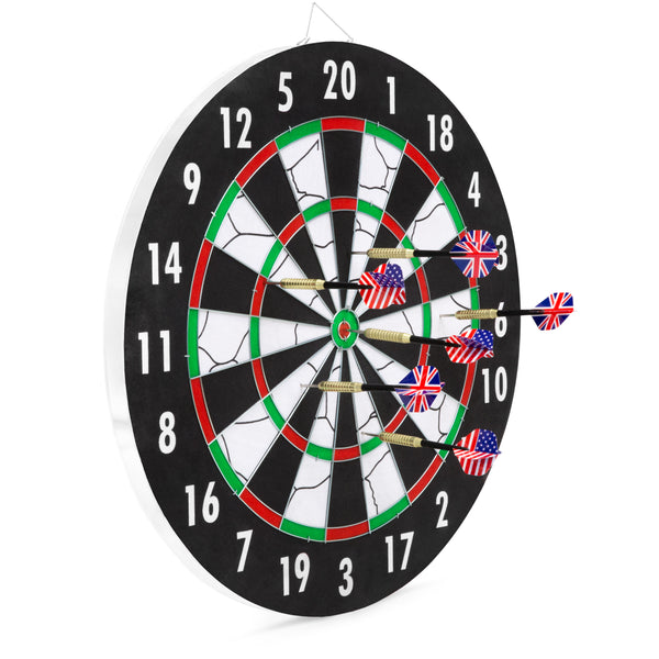 Double-sided Dart Board w/ 6 Steel Darts