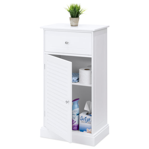 Bathroom Floor Storage Cabinet - White