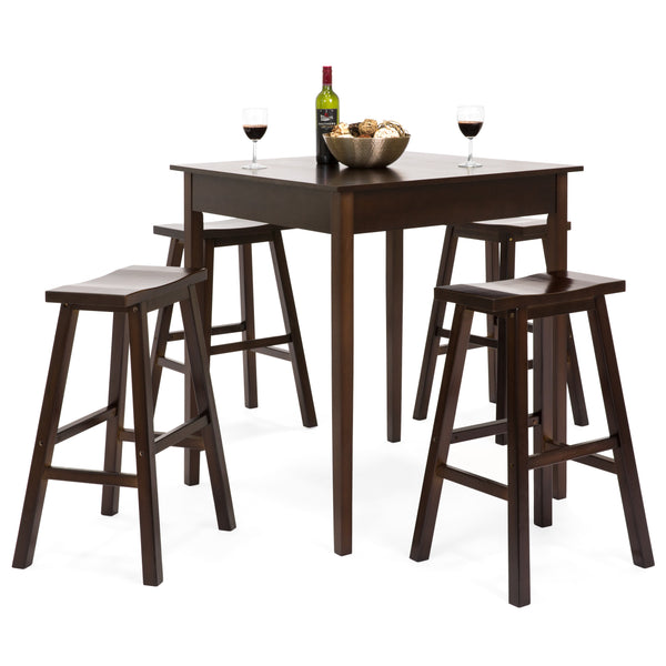5 Piece High Bar Stool Pub Table Set   Brown