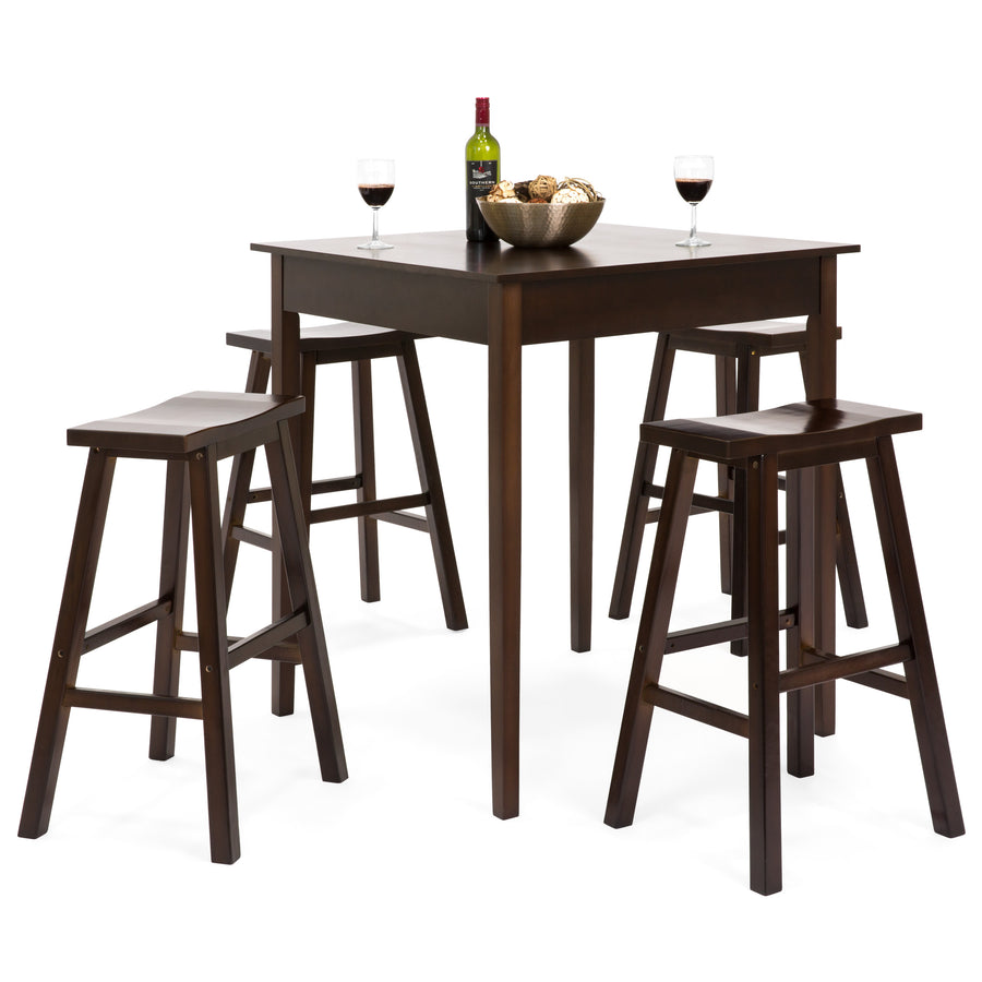 5-Piece High Bar Stool Pub Table Set - Brown – Best Choice Products