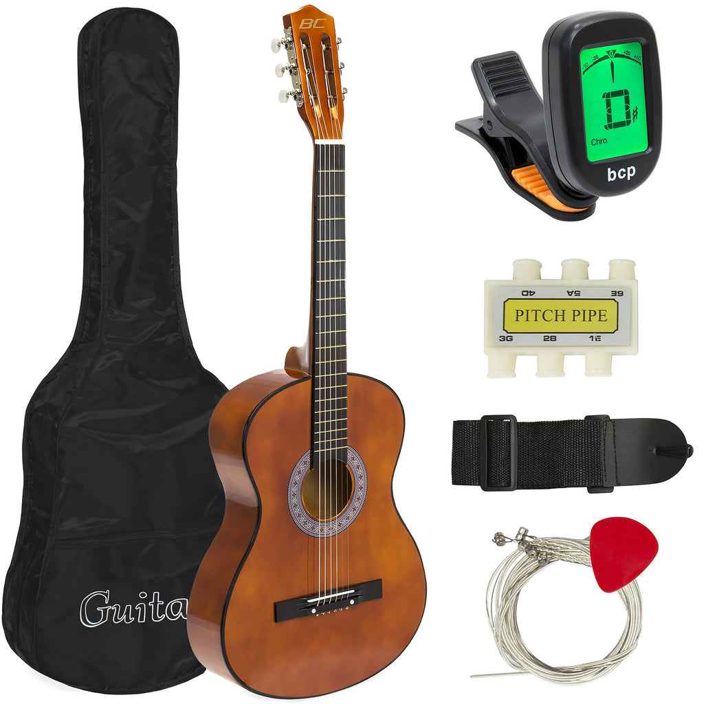 Beginner Acoustic Guitar Set with Case, Strap, Tuner, Strings - 38in