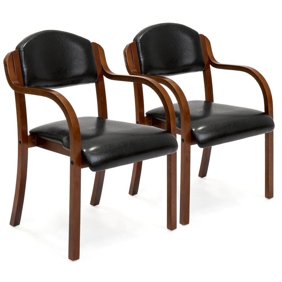 Set of 2 Arm Chairs Living Room, Office Furniture - Black