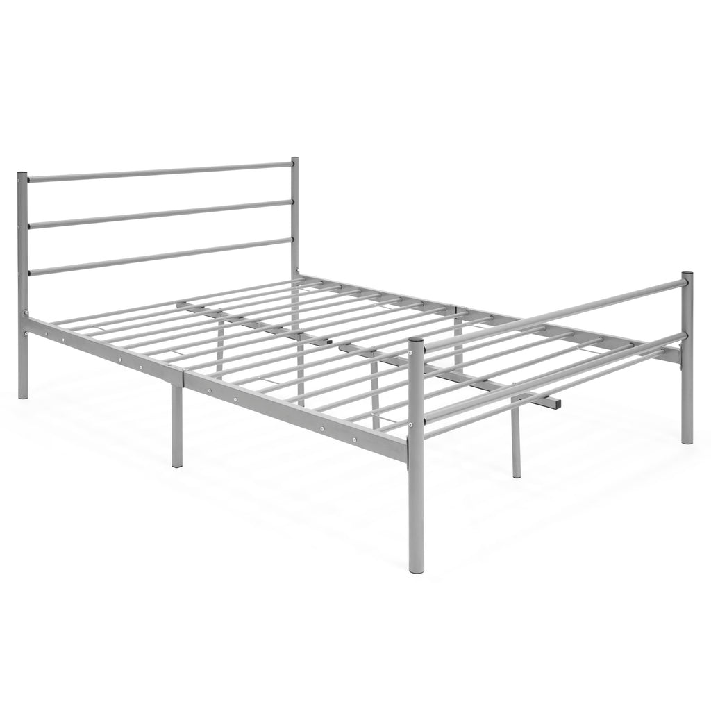 Full size metal bed frame platform silver best choice for Full size bed frame