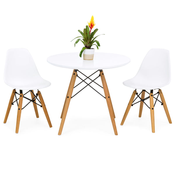 Kids Eames Style Dining Table Set W/ 2 Armless Chairs