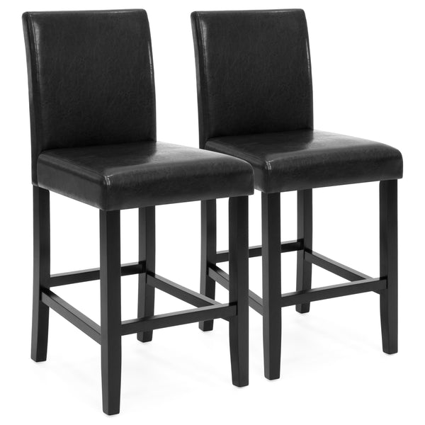 Set of 2 Wooden Padded Bar Stools - Black