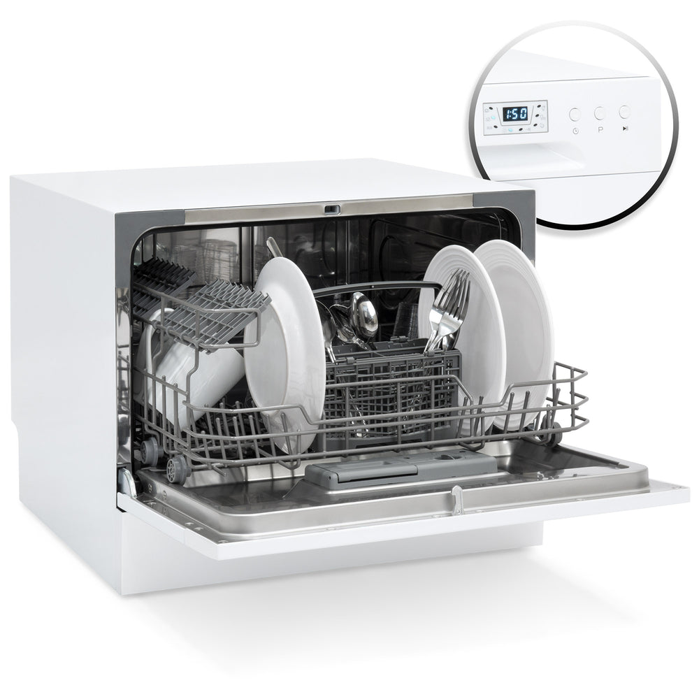 Stainless Steel Kitchen Dishwasher w/ 6 Place Setting Compact Design ...