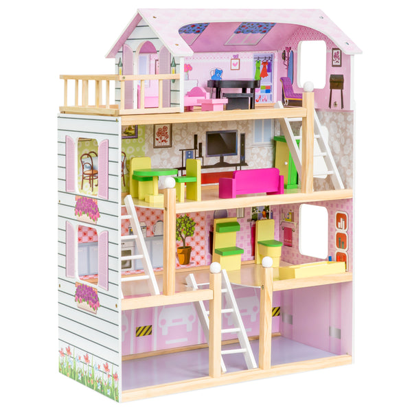 4-Level Wooden Uptown Dollhouse w/ Furniture - Multicolor