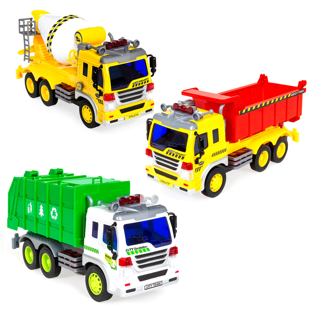 Toy Model Trucks : Set of scale friction powered city vehicle toy