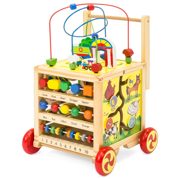 5-in-1 Wooden Toy Bead Maze Learning Activity Cube Set