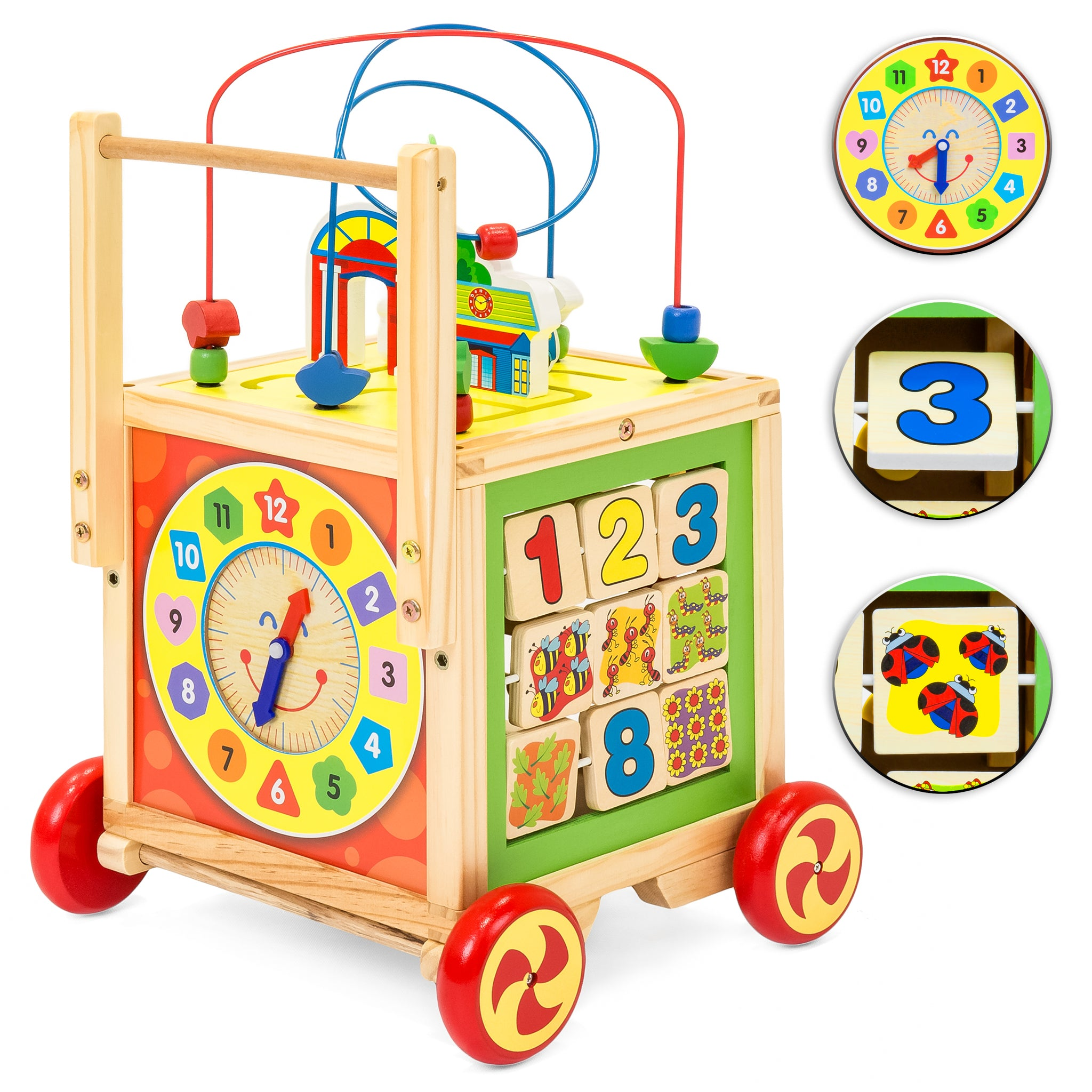 5 in 1 Wooden Toy Bead Maze Learning Activity Cube Set – Best