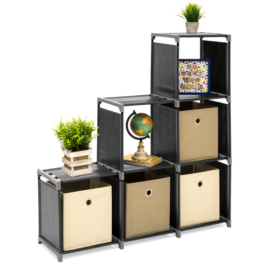 6 Drawer Multi Purpose Cubby Storage Cabinet   Black