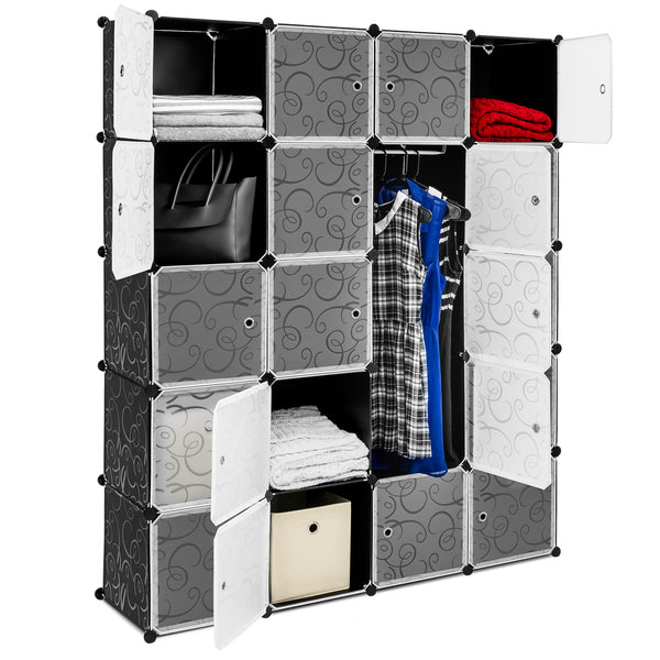 20 Unit Cubby Cabinet Storage Wall Drawers for Closets, Clothing, Shoes - Gray