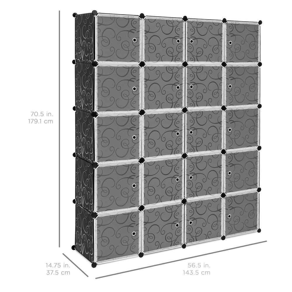 20 Unit Cubby Cabinet Storage Wall Drawers For Closets, Clothing, Shoes    Gray
