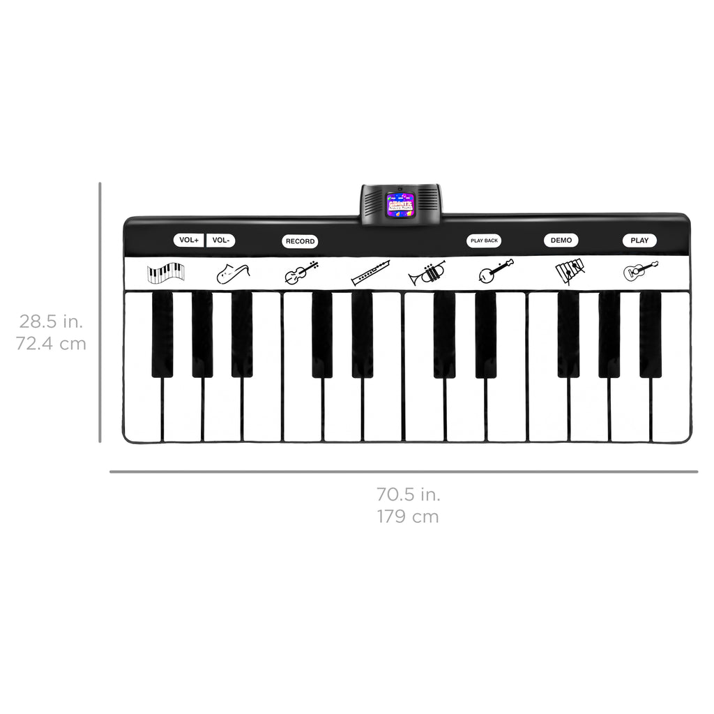 Giant Piano Keyboard Playmat w/ 8 Instrument Settings - Black/White