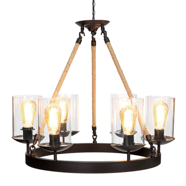 Rope Design 6-Light Chandelier Pendant Lighting Fixture