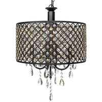 BCP Modern 4-Light Hanging Round Chandelier w/Crystal Pendants