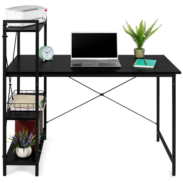 4-Tier Shelves Computer Desk - Black