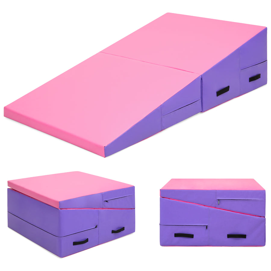 "60"" X 30"" X 14"" Folding Gymnastics Incline Mat - Pink/Purple"