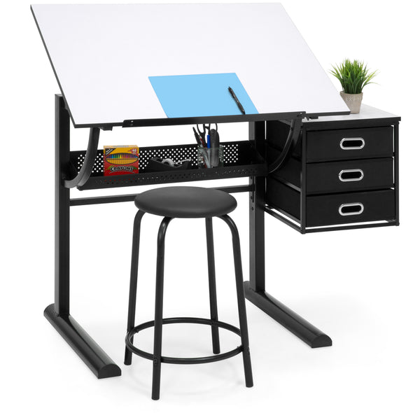 Adjustable Drafting Table w/ Stool - Black/White