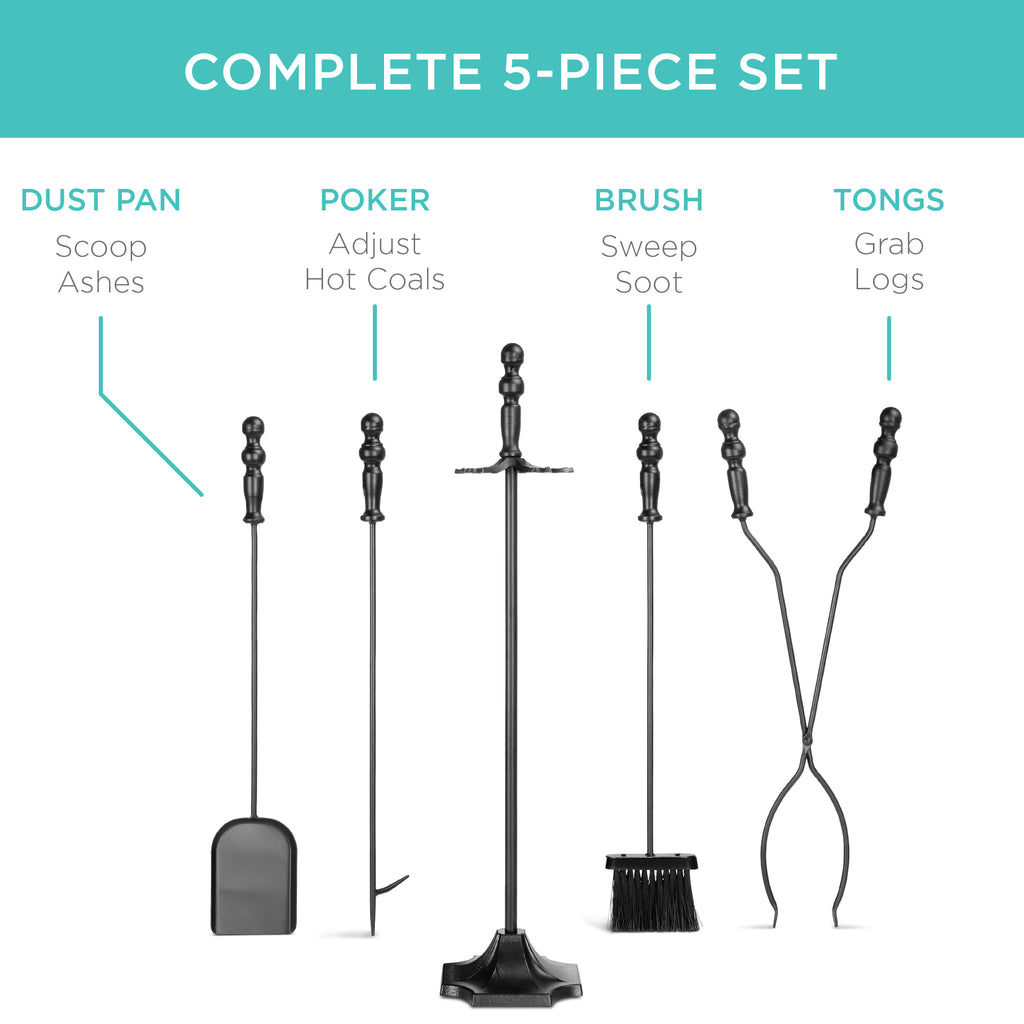 Rustic 5-Piece Iron Fireplace Tool Set w/ Tongs, Poker, Broom, Shovel, Stand