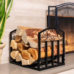 Firewood Cut Wood Rack Holder w/ Scrolls - Black