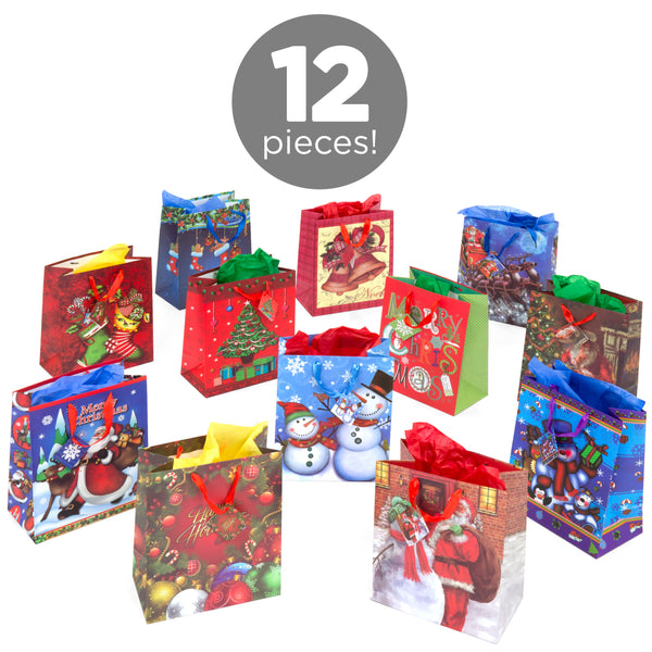 Set of 12 Assorted 13'' Christmas Gift Bags Select Channel