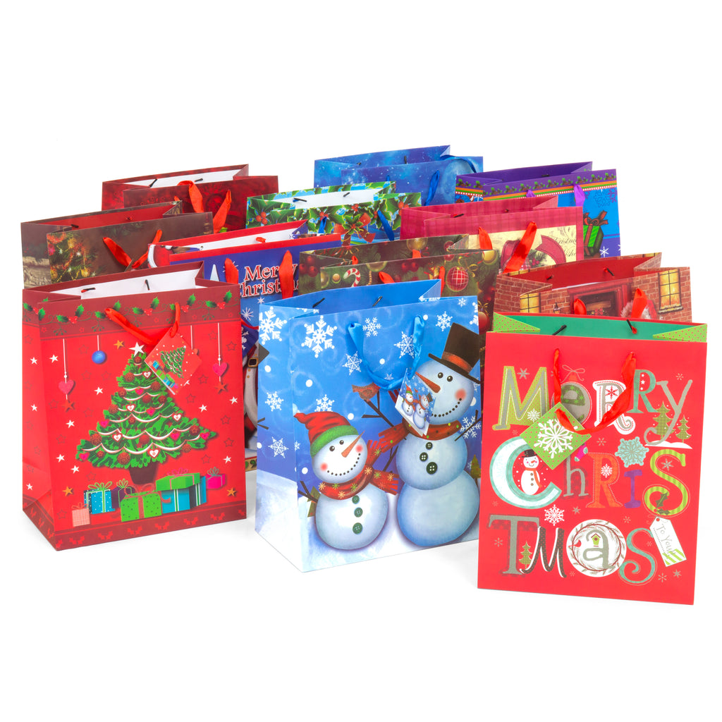 Set of 12 13in Assorted Christmas Holiday Wrapping Bags w/ Gift Tags - Multi