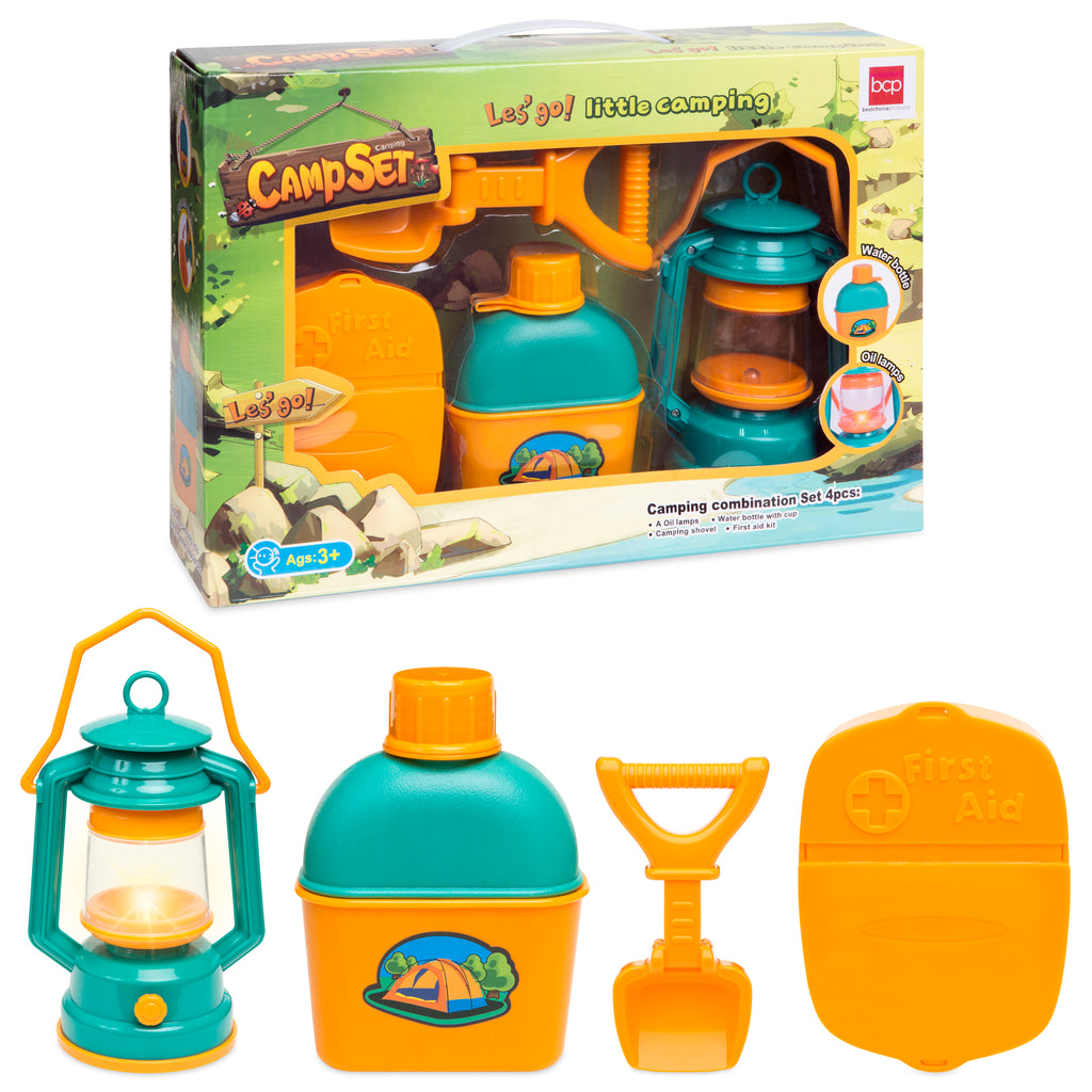 Kids Outdoor Camping Adventure Toy Kit w/ Bottle, Shovel, Lantern, First Aid