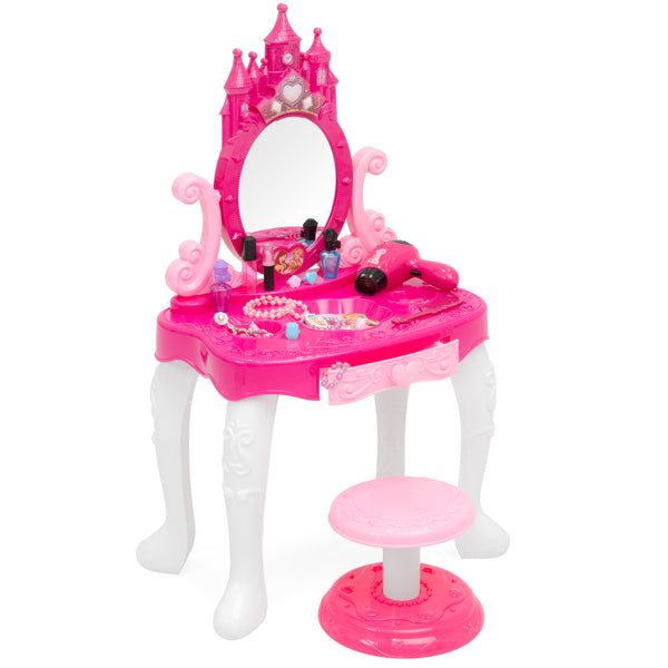 14-Piece Pretend Play Kids Vanity Table and Chair Beauty Play Set with Fashion & Makeup Accessories