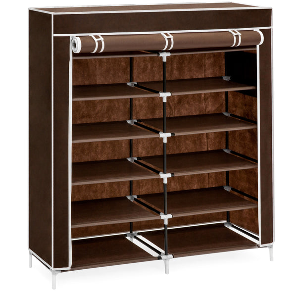 6-Tier Portable Shoe Rack Closet w/ Fabric Cover - Brown