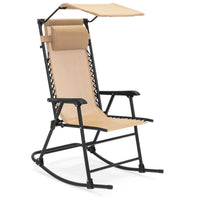 Deals on Folding Zero Gravity Mesh Rocking Chair w/Sunshade Canopy