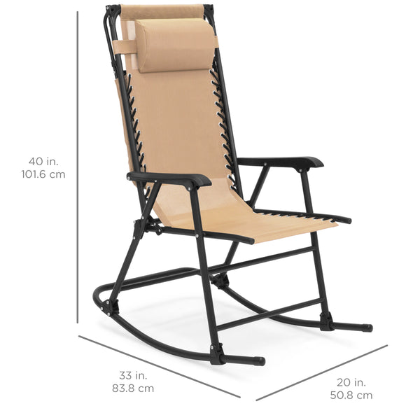 Foldable Zero Gravity Rocking Recliner Chair w/ Canopy - Tan