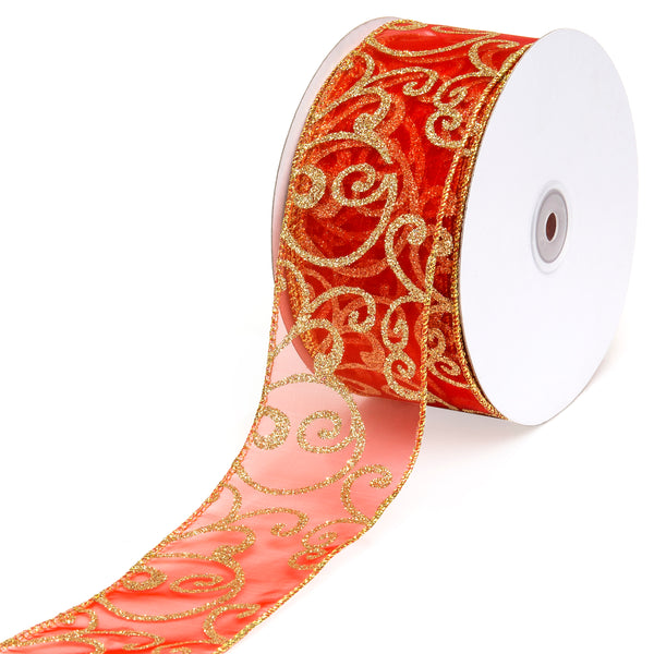 3in x 50yd Wired Sheer Ribbon Spool Decoration Accessory w/ Glitter Pattern