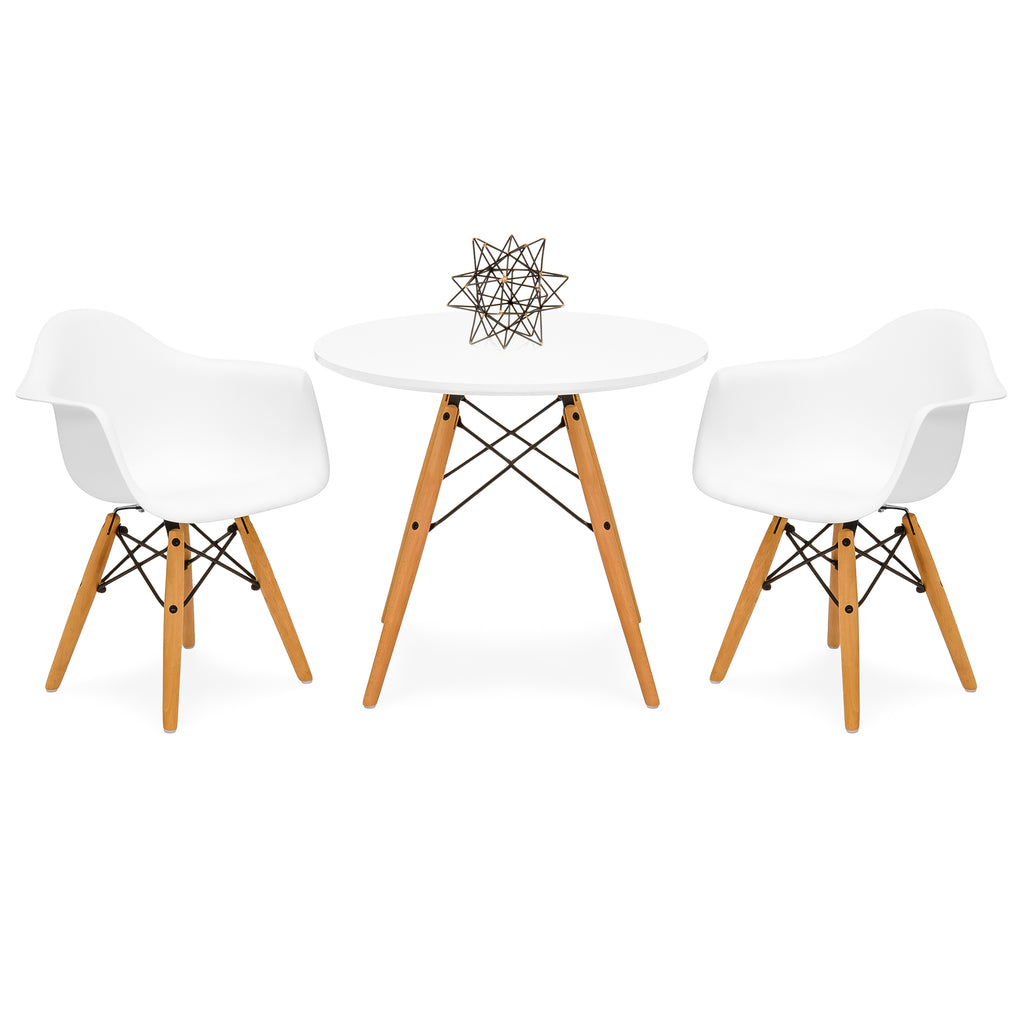 Eames Style Kids Table and Armchair Set - White