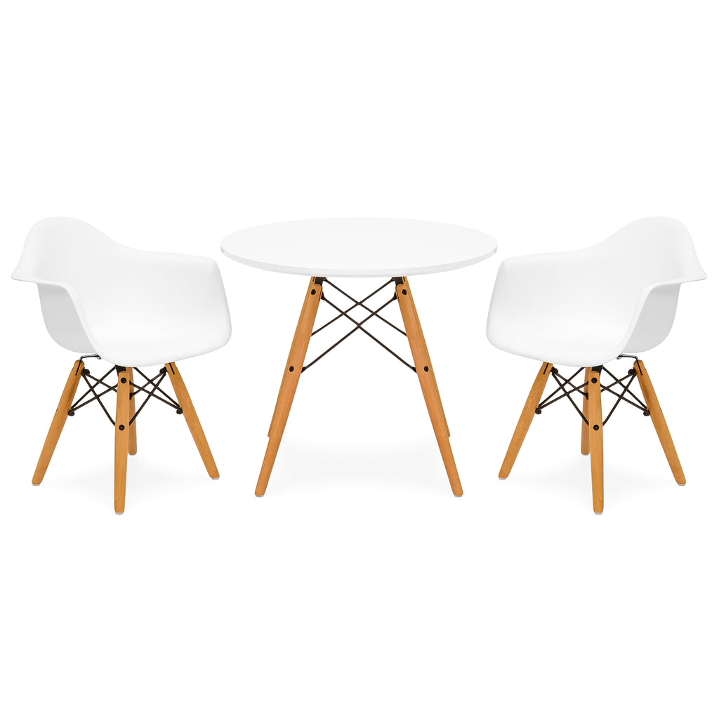 Kids Modern Mini Multifunctional Round Table Set w/ 2 Chairs