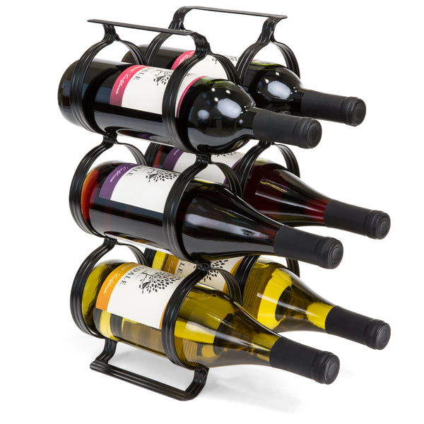 6-Bottle Countertop Wine Rack Storage w/ Built-In Handles - Black